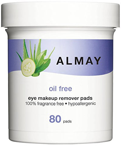 Almay Oil Free Eye Makeup Remover Pads, 80 Pads