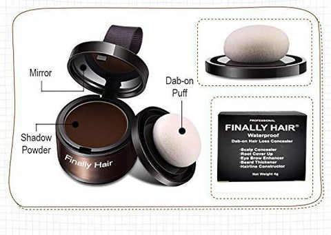 Finally Hair Pure White Dab-on Hair Fibers & Hair Loss Concealer, Hairline Creator, Eye Brow Enhancer, and Beard Filler. Dab-on Hair Fiber Shadow Powder (Pure White)