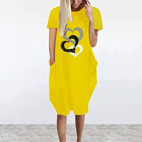 Cenglings Mini Dress,Women's Summer Round Neck Heart Print Dresses Casual Short Sleeve Loose Cotton Party Holidaye Dresses Yellow