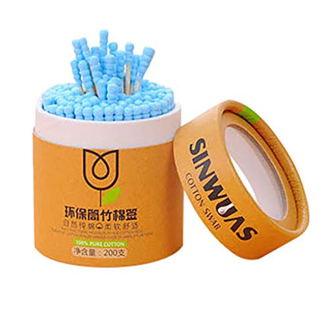 fine_fine 200pcs Cotton Swabs, Round Tip with Wooden Handle Cleaning Swabs Cotton Buds for Ear Cleaning, Makeup Cleaning, Injury Cleaning (Blue)