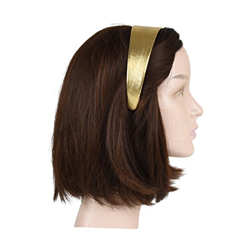 Gold 2 Inch Wide Leather Like Headband Metallic Hair band for Women and Girls