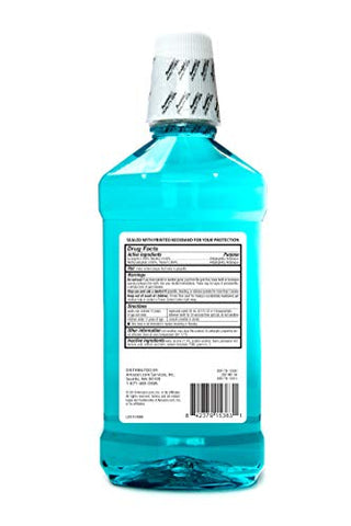 Amazon Brand - Solimo Antiseptic Mouthwash, Blue Mint, 1 Liter, 33.8 Fluid Ounces, Pack of 1