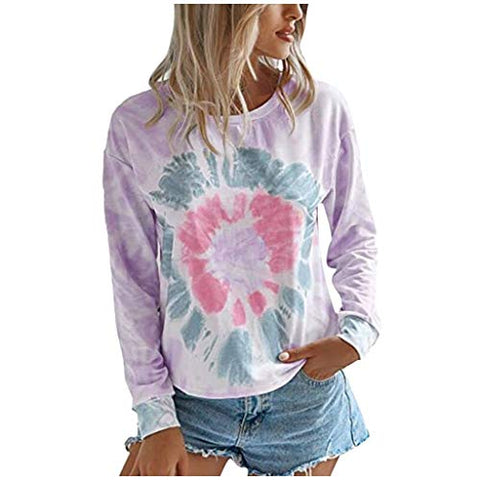 HHoo88 2020 Women's Fashion Tie-Dye Sweatshirt Casual Autumn Summer Crewneck Long Sleeve Loose Pullover Tops Blouse Purple