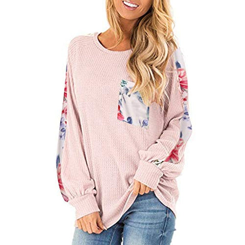 Xinantime Womens Leopard Printed Long Balloon Sleeve Knit Shirts Loose Tunic Top Pullover Sweater (Pink,S)