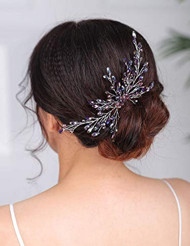 Denifery Bridal Hair Comb Sparkly Crystal Wedding Comb Bridal Hair Clip Colorful Hair Pin Party Wedding Hair Accessory for Brides (Blue)