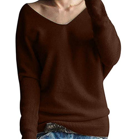 Xinantime Womens Winter Batwing Sleeve Solid Knitted Sweater Pullover Tops Blouse (Coffee,L)