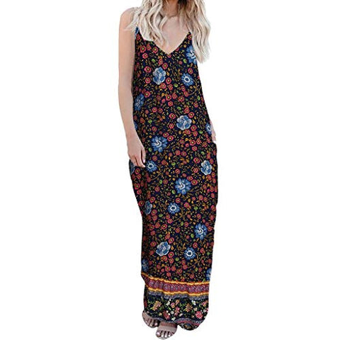 terbklf Maxi Dresses for Women Summer Sexy Strappy V Neck Long Dress Ladies Floral Dresses Beach Party Wedding Dress Dark Blue