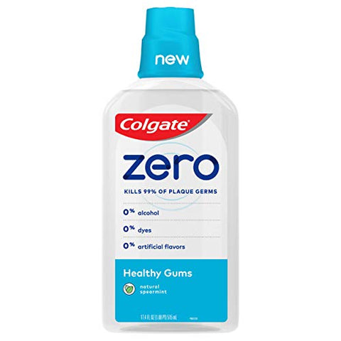 Colgate Zero for Healthy Gums Alcohol Free Mouthwash with CPC (Cetylpyridinium Chloride), Natural Spearmint - 515 mL, 17.4 Fluid Ounce