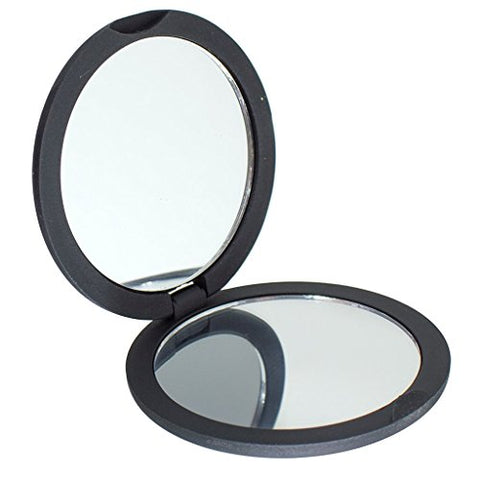 Magnifying Compact Travel Double Sided Mirror in Black - 1x / 2x Magnifying View - Perfect for Touch Ups, Makeup Bag, Travel, Gym, Car