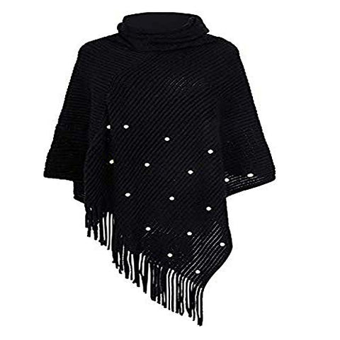 Women's Fashion Solid Pearl Tassel Wraps Scarf Sweater Cape Outdoor Coat Blanket Warm Shawls