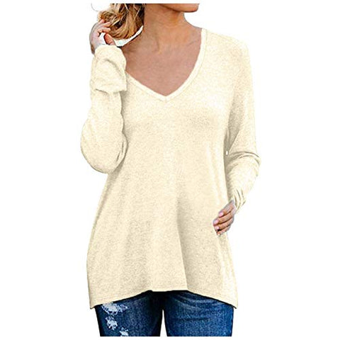 Tuuu Women's Causal V-Neck Solid Color Long Sleeves with Split Side Zipper Loose Tops Khaki
