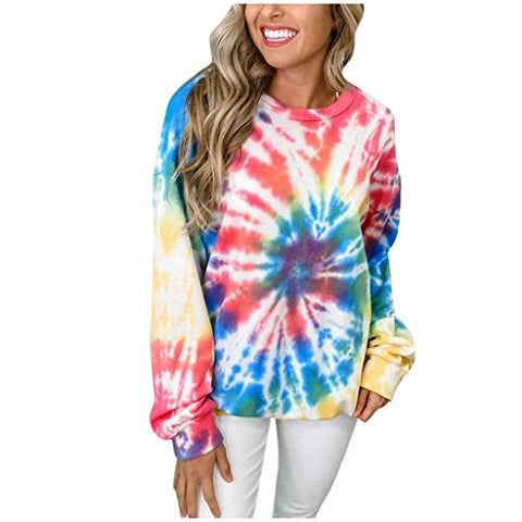 Eoeth Women Tie Dye Pullover Crew Neck Long Sleeves Pullover Sweatshirt Blouses Loose Tops