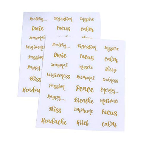 Lurrose Essential Oil Bottles Labels Stickers 5 Sheets Golden Letter Vinyl Oil Bottle Decals Tags Waterproof Self-adhesive Perfume Bottles Sticker for Glass Pot Bottles Container