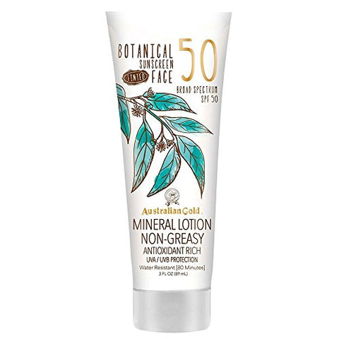Australian Gold Botanical Sunscreen Tinted Face Mineral Lotion Spf 50, 3 Ounce | Broad Spectrum | Wa