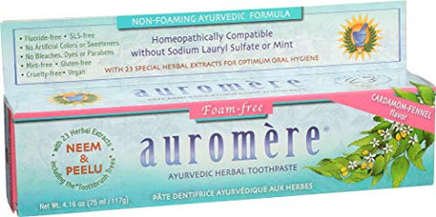 Auromere Foam Free Cardamom Fennel Toothpaste (5 Pack)