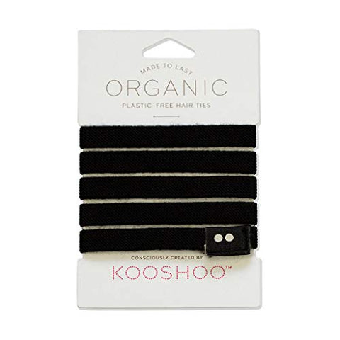 Biodegradable Hair Ties In Black By Kooshoo | Plastic Free, Certified Organic Cotton Hair Elastics (