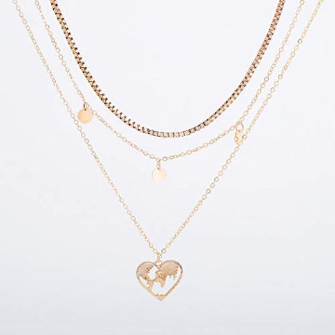 Jovono Fashion Multilayered Heart Pendant Necklaces Sequins Tassels Necklace Chain Jewelry for Women and Girls (Gold)