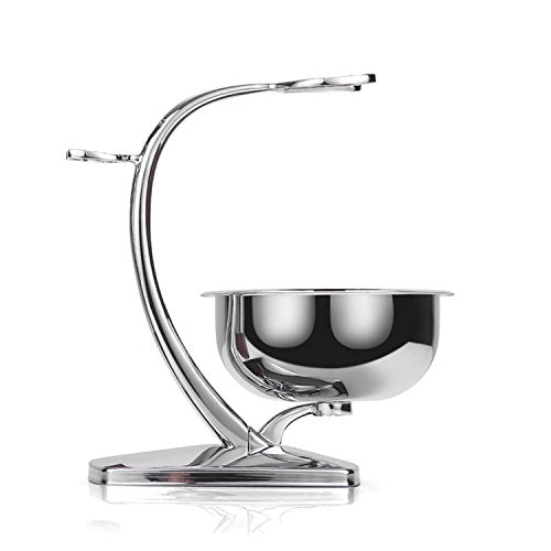 Grutti Deluxe Chrome Razor And Brush Stand With Bowl, Compatible With Manual Razor, Safety Razor, Gi