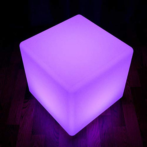 Paddia Intelligent LED Cube Stool Seat Home Kids Bedside Bedroom Discoloration Rechargeable Colour Changing Led Mood Light with Remote Control Waterproof Night Party Bar Pool Luminous