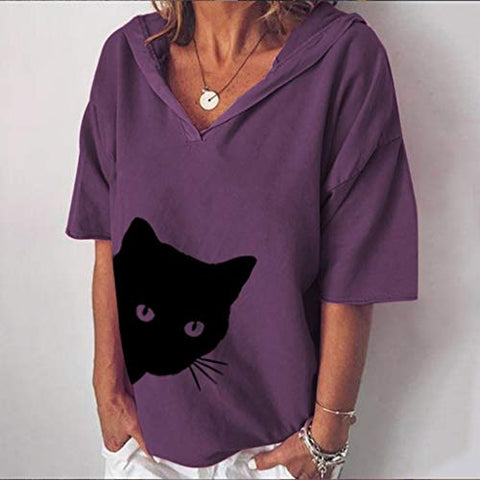 HHoo88 Women's Loose Hoodie Blouse Shirt Casual Cotton and Linen Cat Head Print Tops T-Shirt Summer Fall Autumn Tee Purple