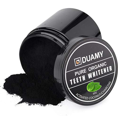 DUAMY Activated Charcoal Teeth Whitening Charcoal Powder (60 Grams/2.12 oz) All Vegan and 100% Biodegradable, Natural and Eco Friendly. Removes Stains for a Brighter Smile, Mint flavor