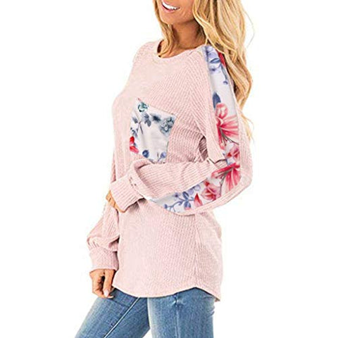 Xinantime Womens Leopard Printed Long Balloon Sleeve Knit Shirts Loose Tunic Top Pullover Sweater (Pink,M)