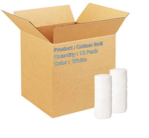Cotton Roll. Case of 12 Non-sterile cotton for wound care. Soft and absorbent, 100% cotton. Re-sealable drawstring polybag. White, single use, latex-free.