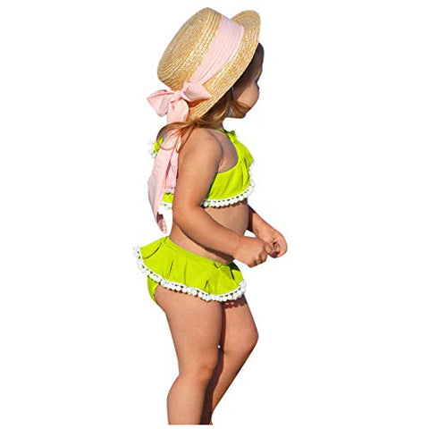 jkhhi Toddler Infant Girls Cold-Shoulder Swimwear Tops Two Pieces Bikini Shorts Ruffled Balls Tassel Beachwear Swimsuit(Mint Green,3-4T)