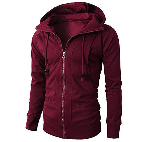 jin?Co Men's Fashion Autumn Winter Hooded Sweatshirts Full Zip Drawstring Slim Tops Sport Jacket Hoodies Wine Red
