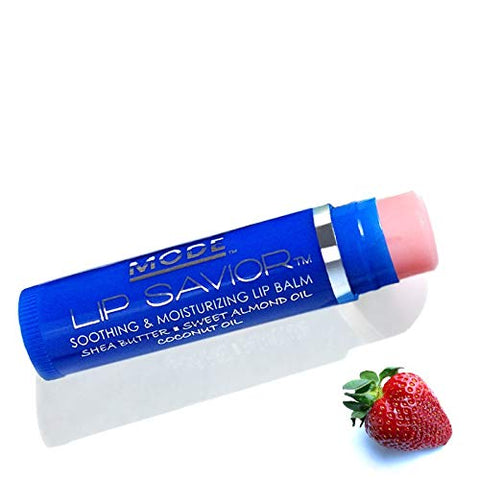 Strawberry Lip Balm, Mode Lip Savior, Vegan, Cruelty Free, Flavored, Soothing, Moisturizing, Conditioning, Natural Sweet Almond Oil, Organic Shea Butter, Coconut Oil, Made in Beautiful USA