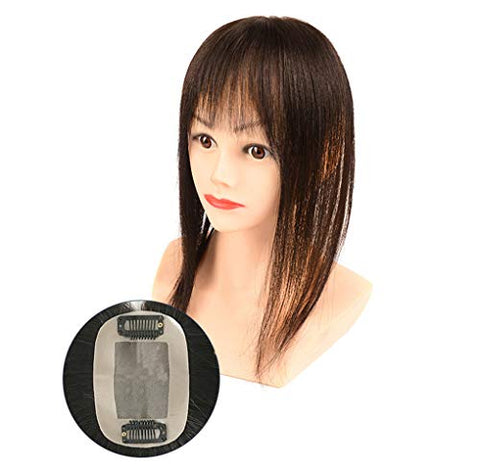 Real Human Hair Toppers with Straight Bangs, Hand Tied Clip in Crown Topper Wiglet Hairpieces for Women with Hair Loss, 10