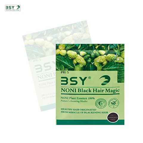 BSY Noni black hair magic shampoo | Noni hair colour | Noni hair dye | Noni shampoo | Hair dye | Hair dye shampoo | Hair colour shampoo | Black hair shampoo 20x 20g.