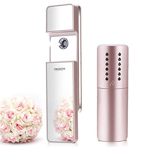 Nano Facial Mister Ionic Cool Mist Sprayer Moisturizing Atomizer Face Nebulizer Portable Face Hair Steamer Handy Eyelash Extension Bottle Spray Skincare Anti-aging Moisturizer (Rose Gold)