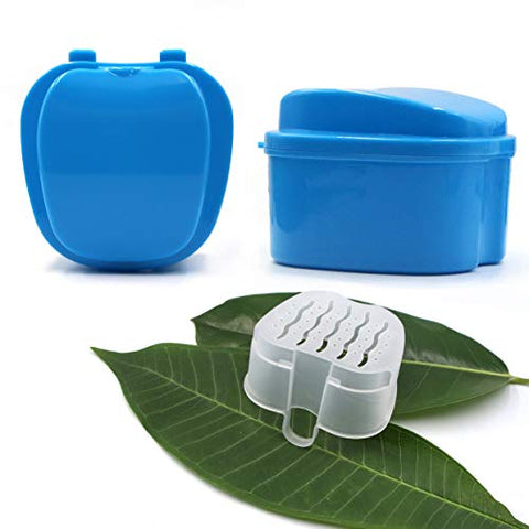 BRMDT Denture Cup & Denture Brush Portable Professional Cleaning Kit - Soaking Denture Bath with Strainer/Denture Case/Retainer Case, Cooperate with Cleaning Tablets for False Teeth Daily Cleaning