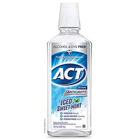 ACT Anticavity Zero Alcohol Fluoride Mouthwash 18 fl. oz., With Accurate Dosing Cup, Iced Sweet Mint
