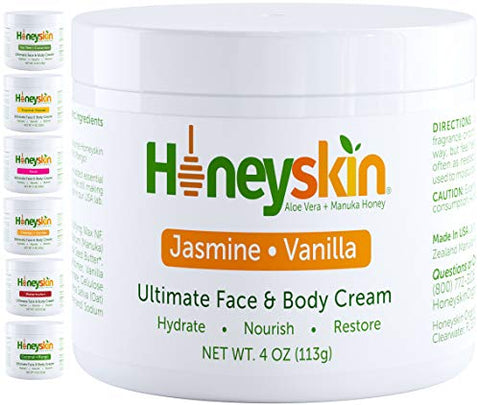 Organic Moisturizing Face and Body Cream - with Manuka Honey and Shea Butter - Hydrating Facial Moisturizer - Anti Aging and Wrinkle - Skin Tightening and Firming - Natural Jasmine Vanilla Scent (4oz)