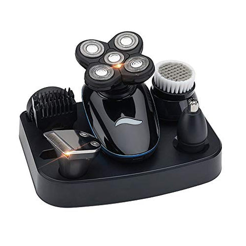 Bald Head Shaver Men??s 5-in-1 Electric Shaver Grooming Kit Five-Headed Shaver Hair Razor for a Perfect Bald Look Facial Clean Cordless and Rechargeable with Holder