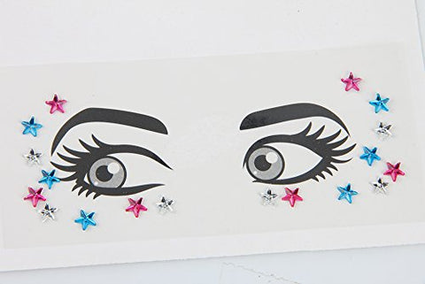 waway 1 Sheet Handpicked Bohemia Tribal Style 3D Festival Crystal Sticker Face and Eye Jewels Forehead Stage Decor Temporary Tattoo Sticker