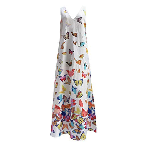 TEVEQ Women Maxi Dress Casual Vintage Dress Floral Sleeveless Loose Party Long Dress Bohemia Dress White