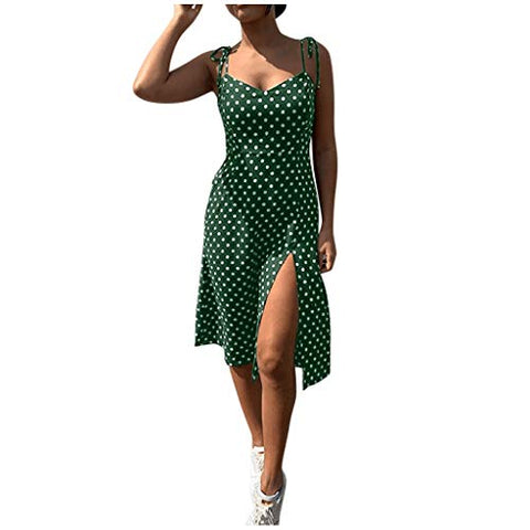 HIRIRI Women's Polka Spaghetti Strap High Waist V-Neck Sundress Summer Ruffle Flare Mini Slip Dress Green
