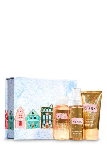 Bath and Body Works IN THE STARS Mini Gift Box Set 3-pc Travel Size arranged in an gift box with a ribbon.
