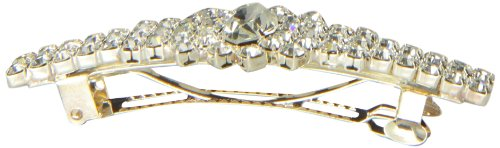 Caravan Automatic Barrette Decorated With Crystal Clear Rhinestone In An Oval Burst