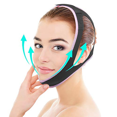 Double Chin Strap Pain-Free Face Slimming Belt for Women Facial Intense V-Line Face Lift Up Band Eliminates Sagging Skin Lifting Firming Anti Aging