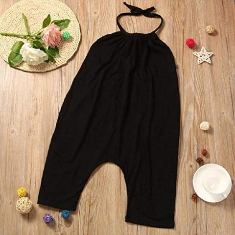 terbklf Toddler Kids Baby Girls Summer Slim Sleeveless Solid Straps Rompers Jumpsuits Piece Pants Clothing Black