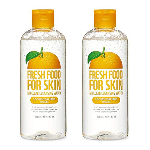 FARMSKIN Fresh Food For Skin Micellar Cleansing Water Face Cleansing Makeup Remover for Normal Skin Orange (Pack of 2), 20.28 Fl Oz