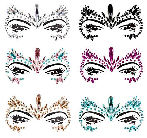 Face Jewels Tattoo Mermaid Face Crystal Stickers Rhinestones Body Glitters Removable Face Gem for Halloween Costume Party 6Pcs (Set A)