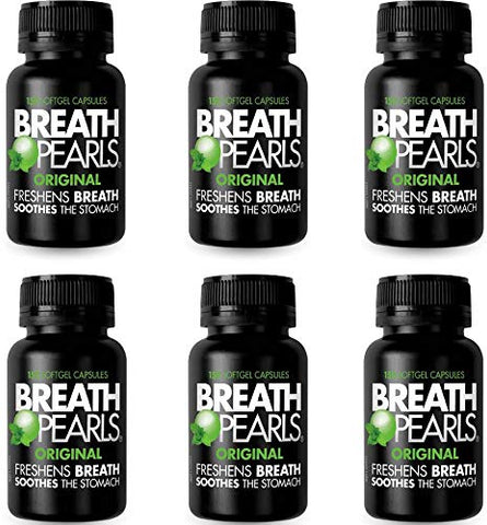 Breath Pearls Original 150 Softgels x 6 Pack (900 Softgels) - Freshens Bad Breath Mints