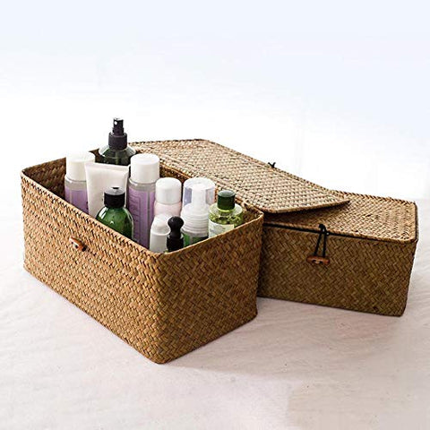 Cosmetic Storage Box Retro Straw Woven Makeup Storage Box Toys Holder Basket Home Sundries Organizer - Beige S