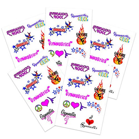 Gymnastics sheet Temporary Tattoos (5-Pack) | Skin Safe | MADE IN THE USA| Removable