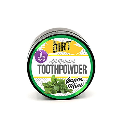 The Dirt All Natural Tooth Powder   Gluten & Fluoride Free Organic Teeth Whitening Powder With Essen